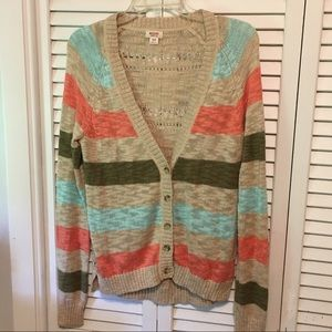 Mossimo supply Co. tan, coral, green sweater